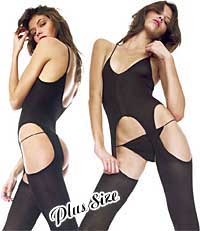 Bodystockings: Music Legs Opaque Suspender Bodystocking Plus Size (size 29Kb)