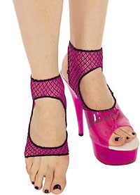 Ankle Highs: Music Legs Open Toe Cut-out Top Two Tone Fishnet Anklets (size 98Kb)