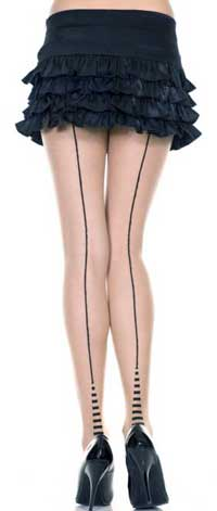 Backseam Pantyhose: Music Legs Backseam Sheer Pantyhose With Striped Cuban Heel (size 12Kb)